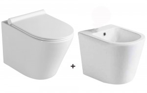 Zestaw miska WC z deską WC Slim soft close+bidet ceramika,Paco